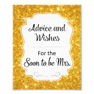 Gold Sparkle Bridal Shower Advice and Wishes Sign Photo Print