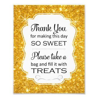 Gold Sparkle Candy Buffet Bridal Shower Sign Print