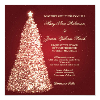 Gold Sparkle Christmas Wedding Red Invitation