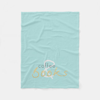 Gold Sparkle Coffee and Books Fleece Blanket