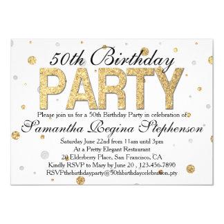 Gold Sparkle Confetti 50th Birthday Party 4.5x6.25 Paper Invitation Card