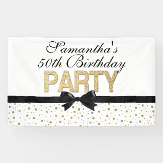 Gold Sparkle Confetti 50th Birthday Party Banner