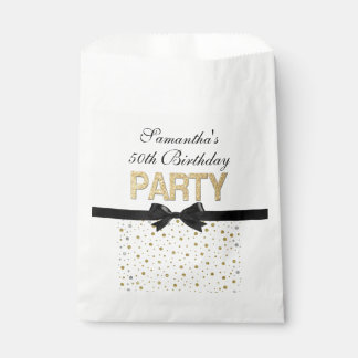 Gold Sparkle Confetti 50th Birthday Party Favor Bag