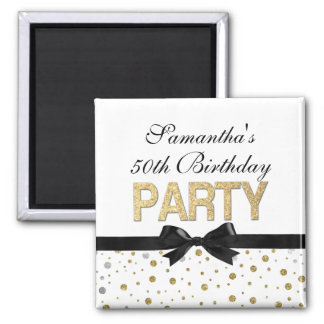 Gold Sparkle Confetti 50th Birthday Party Magnet
