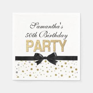 Gold Sparkle Confetti 50th Birthday Party Paper Napkin