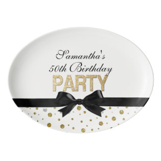 Gold Sparkle Confetti 50th Birthday Party Porcelain Serving Platter