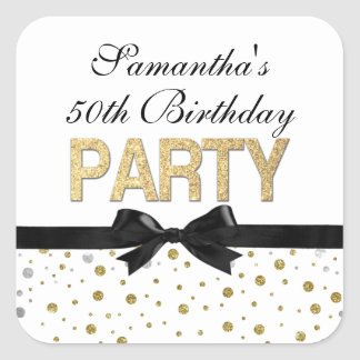 Gold Sparkle Confetti 50th Birthday Party Square Sticker