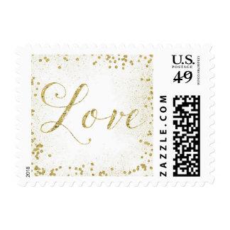 Gold Sparkle Confetti Dots Love Postage