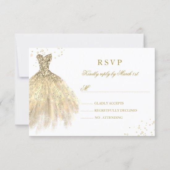 Gold Sparkle Dress Quinceanera RSVP