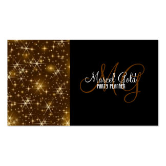 Gold sparkle events and party planner business card