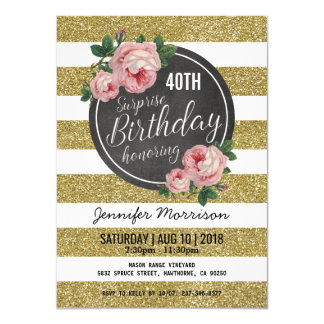 Gold Sparkle Floral Pink Surprise Birthday Party Card