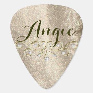 Gold Sparkle Glam Name Guitar Pick