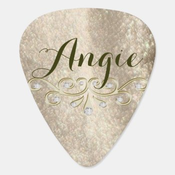 Gold Sparkle Glam Name Guitar Pick by TheInspiredEdge at Zazzle