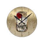 Gold Sparkle Glam Red Rose Mason Jar Round Clock