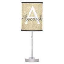 Gold Sparkle Glitter Monogram Name & Initial Table Lamp