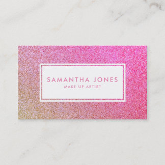 Gold Sparkle Glitter Pink Girly Make Up Artist Business Card