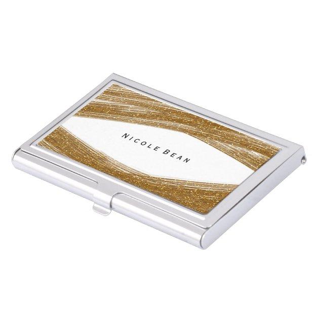 Gold Sparkle Glitter & White Business Card Holder