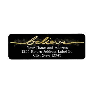 Gold Sparkle Look Bokeh Believe Christmas Custom Return Address Label