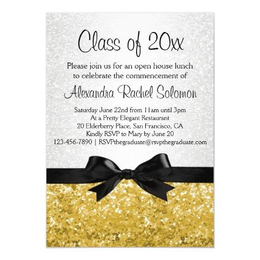 Gold Sparkle-look Bow Graduation Invitation