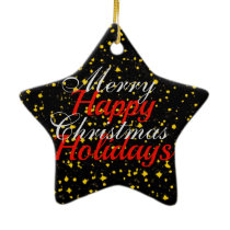 Gold Sparkle Merry Christmas Happy Holidays Ceramic Ornament