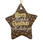 Gold Sparkle Merry Christmas Happy Holidays Ceramic Ornament