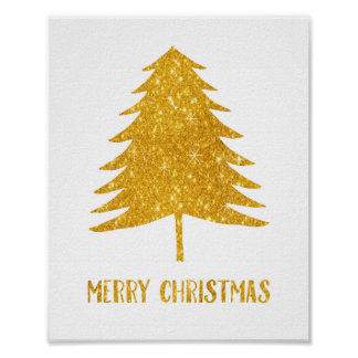 Gold Sparkle Merry Christmas Poster Art