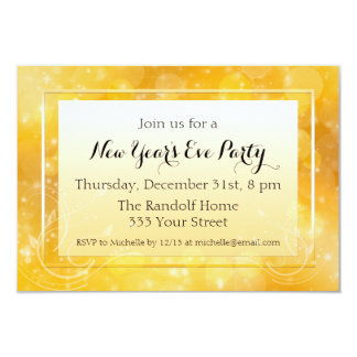 Gold Sparkle New Year's Eve Party Invitations