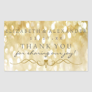 Gold Sparkle Personalized Thank You Wedding Rectangular Sticker