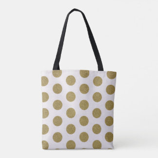 Gold sparkle Polka dot Tote bag
