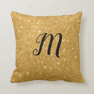 Gold Sparkle print Bling with Initial Throw Pillow