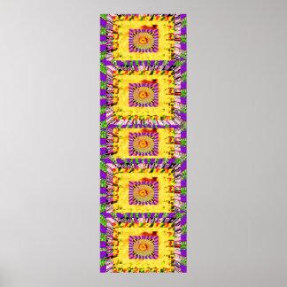 Gold Sparkle Purple  Floral :  Happy Times Art Poster