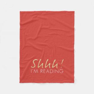 Gold Sparkle Shhh! I'm Reading Fleece Blanket