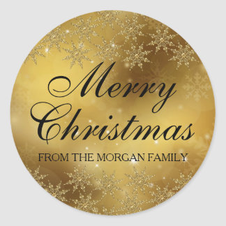 Gold Sparkle Snowflake Christmas Holiday Sticker