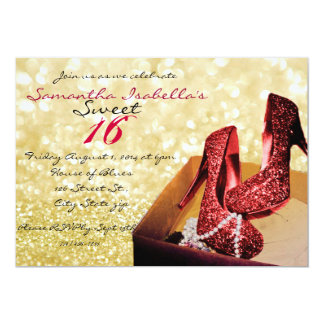 Gold Sparkle Sweet 16 5x7 Paper Invitation Card