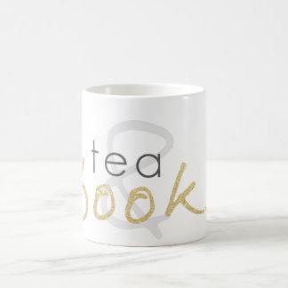 Gold Sparkle Tea and Books Coffee Mug