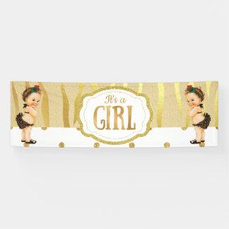 Gold Sparkle Zebra Print Vintage Baby Shower Banne Banner