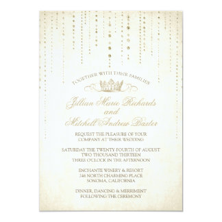 Gold Sparkles & Crown Fairytale Wedding Invitation