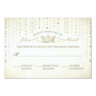 Gold Sparkles & Crown Fairytale Wedding RSVP Card