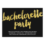 Gold Sparkles | Glitter Look Bachelorette Party 5x7 Paper Invitation Card