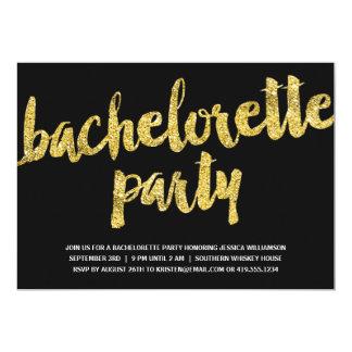 "Gold Sparkles | Glitter Look Bachelorette Party 5"" X 7"" Invitation Card"