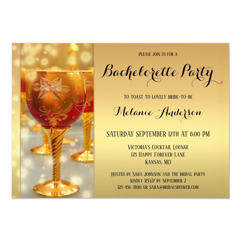 Gold Sparkling Bachelorette Party Invitation
