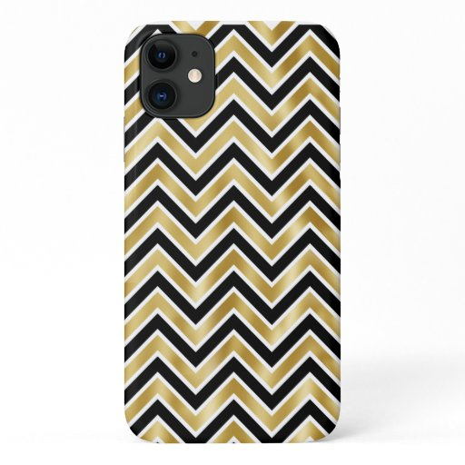 Gold sparkling black chevron pattern diva bling iPhone 11 case