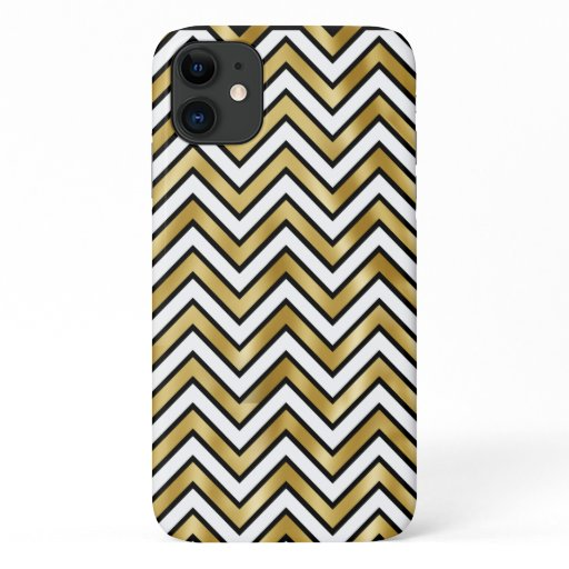 Gold sparkling black white chevron pattern bling iPhone 11 case