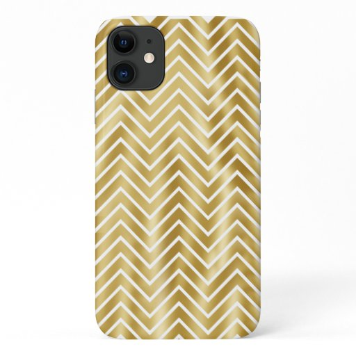 Gold sparkling chevron pattern diva bling iPhone 11 case