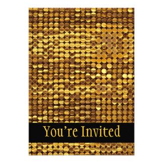 Gold Sparkling Sequin Look Invitations