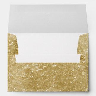 Gold Sparkly Faux Glitter Design Envelopes