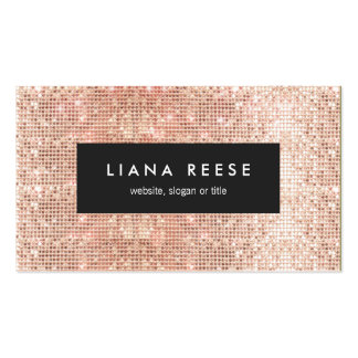 Gold Sparkly FAUX Rose Gold Sequin Beauty Salon Business Card