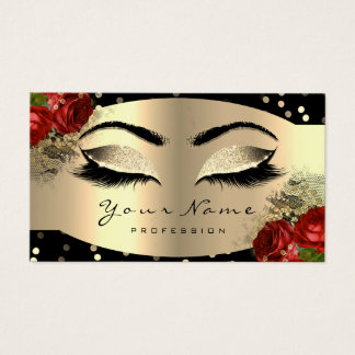 Gold Sparkly Makeup Artist Lashes Floral Red Rose Business Card