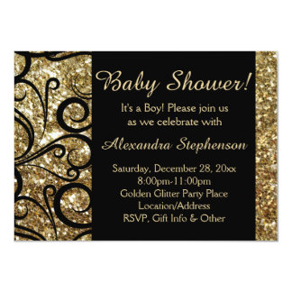 Gold Sparkly Swirl Boy Baby Shower Card