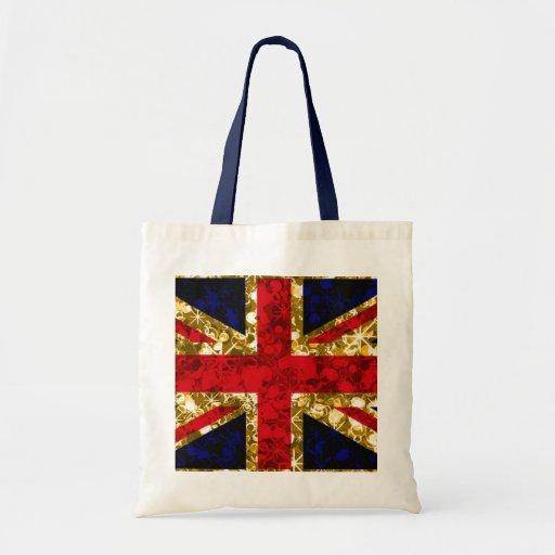 Gold sparkly UK flag Budget Tote Bag